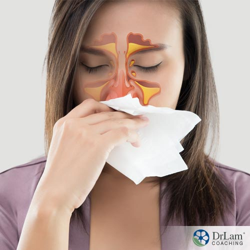 An image of a woman wiping her nose with a tissue due to sinus drainage