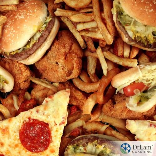 picture of trans fats foods such as pizza, burgers, and fries