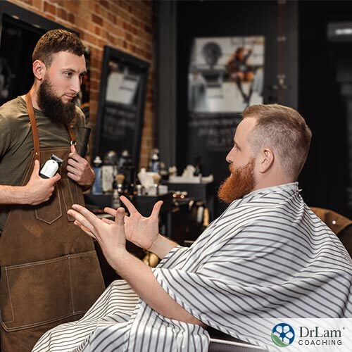 man using venting therapy with his barber.