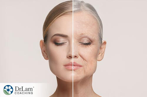 A side by side image where colostrum can help an age-progressed woman