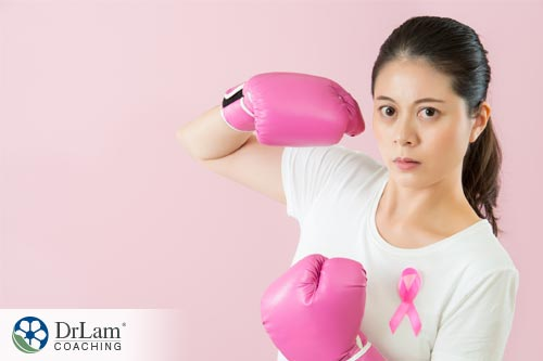Woman with boxing gloves, symbolizing the potential of kefir to fight cancer
