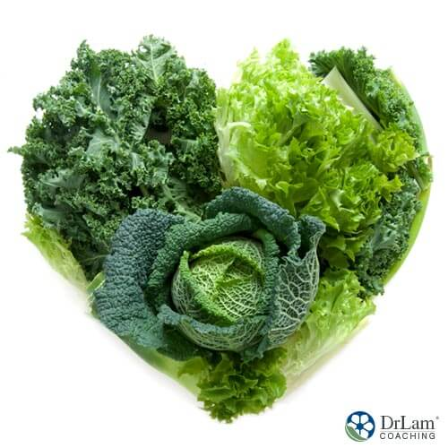 An image of Nitrate rich vegetables in a heart shape