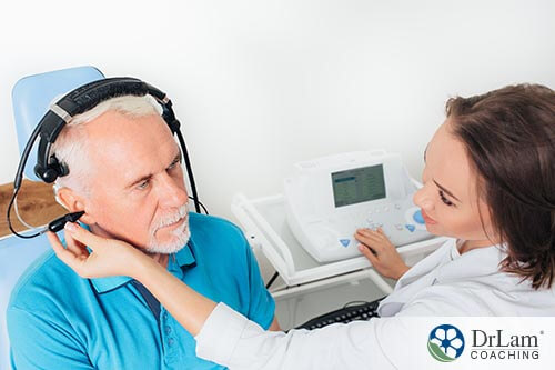 man getting tested for Meniere's Disease by doctor