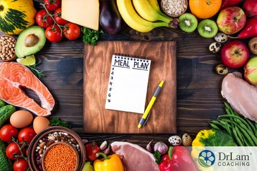meal plan list on a wooden table to prepare for an adrenal fatigue diet