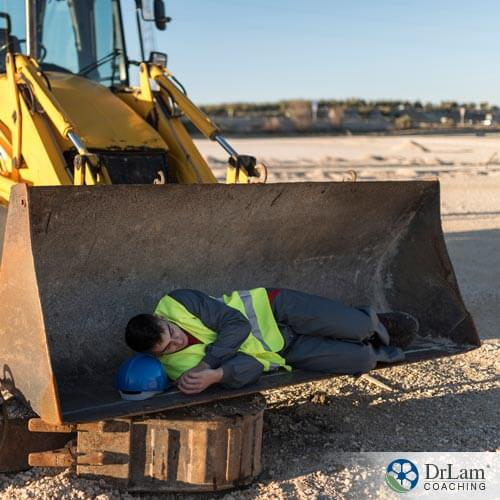 Person working but sleeping on tractor