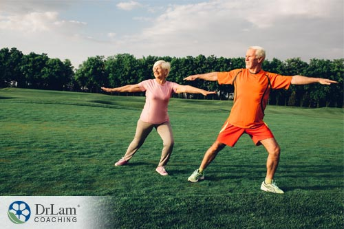 Older couple doing exercises for longevity and health