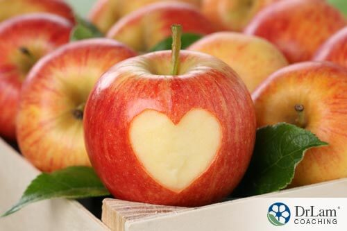 Heart shaped apple containing the benefits of Quercetin