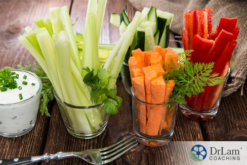 Sliced vegetables can be great healthy snacks