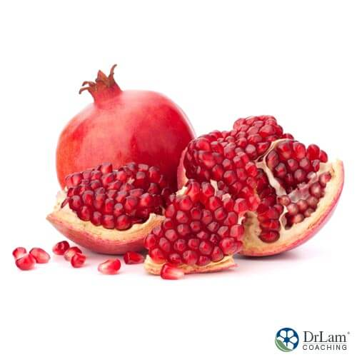 A pomegranate fruit, containing powerful benefits of pomegranates for brain health.