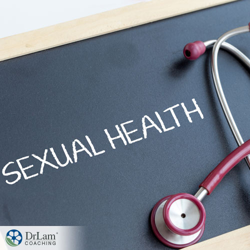 An image of a chalkboard with sexual health written on it and a stethoscope
