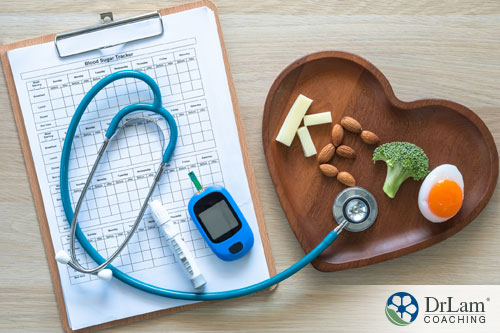 An image of a clipboard with a glucose monitor and stethoscope next to a wood platter with keto foods spelling keto