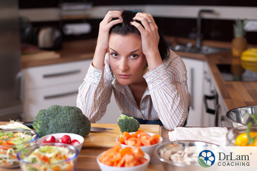 An image of a stressed-out woman holding her head and sitting at a table full of keto foods