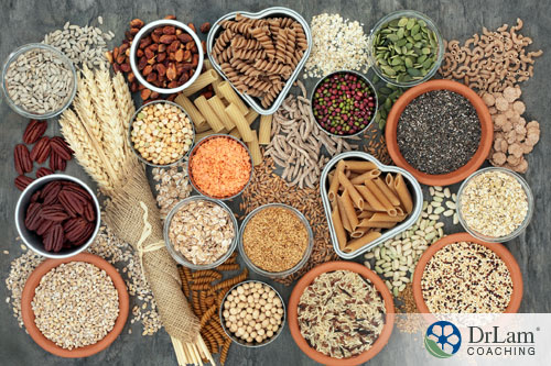 An image of a variety of whole-grain foods arranged on a table