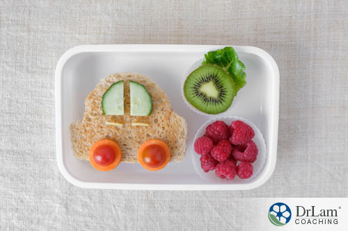 An image of a tray with healthy snacks