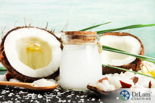 An image of coconuts and coconut oil