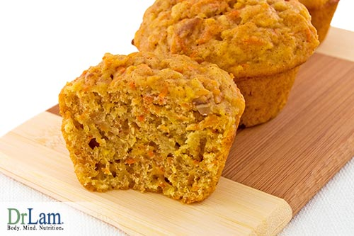 Healthy ingredients of turmeric carrot muffins