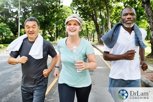 3 people walking together to improve exercise and mental health