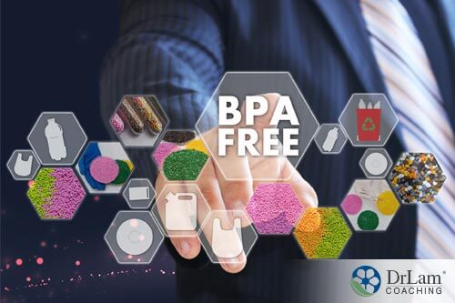 man pointing to BPA free sign, indicating that it is not one of the Sources of xenoestrogens