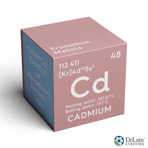 An image of the periodic metal cadmium, which may worsen the effects of adrenal gland dysfunction
