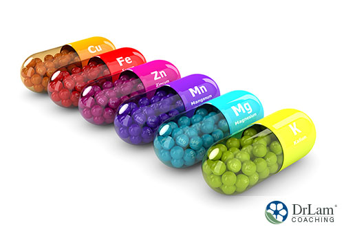 different and colorful supplements lined up in a white background