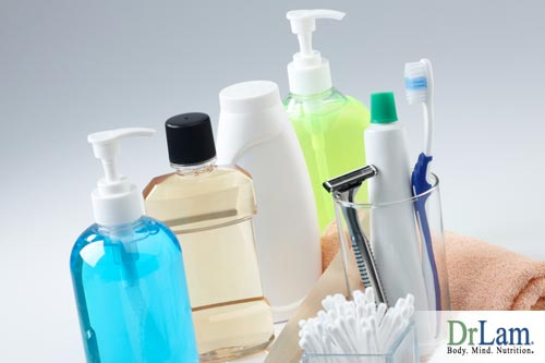 Multiple toiletries including mouthwash, toothbrush, razer and antibacterial body wash that could be detrimental to your health.