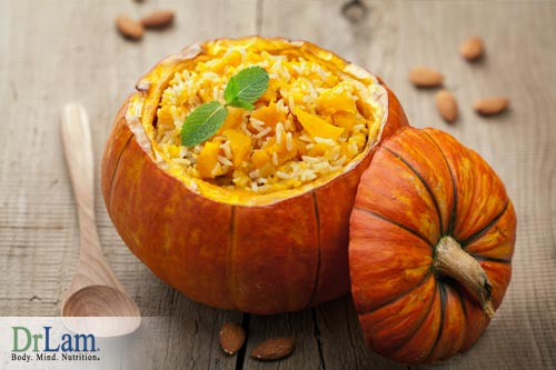 Delicious baked pumpkin bowl, stuffed with savory filling