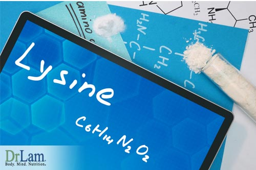 Written molecular composition of lysine on tablet device, next to papers with drawn structure of lysine, and a small amount of lysine powder nearby. Image represents scientific studies that were done to determine the anxiety reduction benefits of lysine.