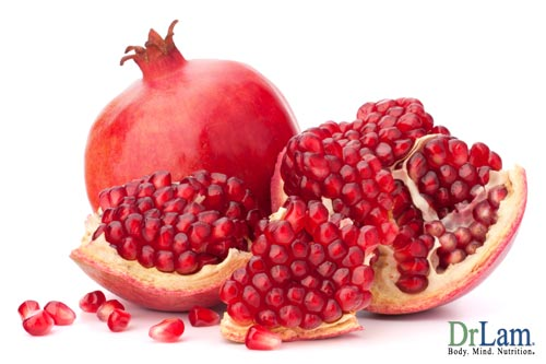 A pomegranate fruit, containing powerful benefits of pomegranate for brain health.
