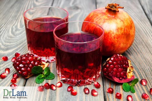 Pomegranates and pomegranate juice, both of which convey health benefits of pomegranate.