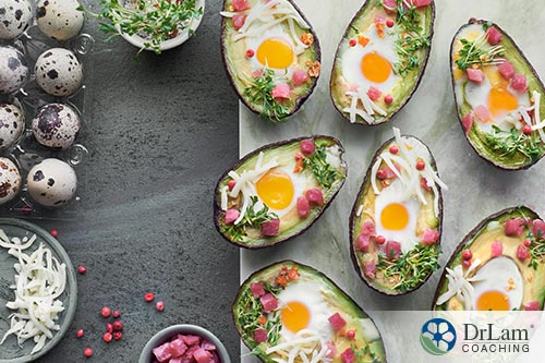 An image of baked avocados with cheese, quail eggs and ham