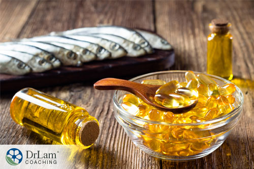 An image of fish oil supplements to help with bile acid
