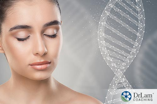 An image of a young woman's face next to a DNA double helix