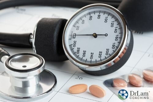 An image of a sphygmomanometer on top of a table with one tablet beside it