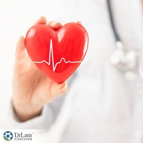 An image of doctor holding a heart shaped object with an electrocardiography image in it