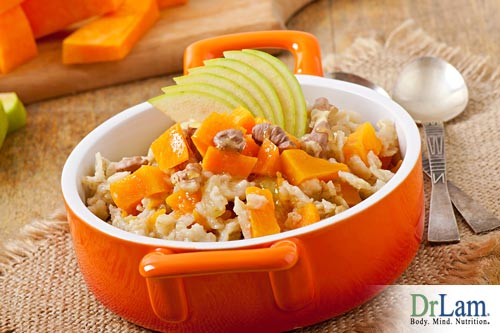 Pumpkin oatmeal is a great low glycemic index breakfast.