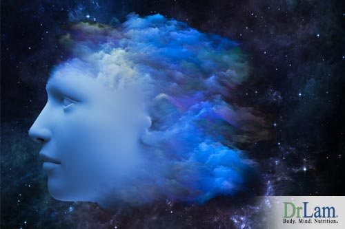 A depiction of a face in profile perspective surrounded by swirling fog. Brain fog causes can make you feel detached.
