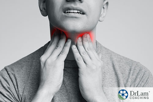 man is having stress and suffering sore throat inflammation