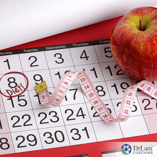 image of a calendar apple and tape measure as preparation for a perfect diet