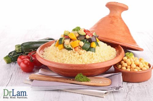 Plate of couscous and vegetables