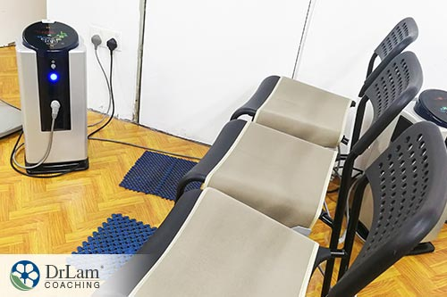 An image of a cranial electrotherapy machine in a doctors office