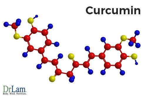 Ball and rod render of the chemical structure of curcumin, the main bioactive component that provides many turmeric health benefits.