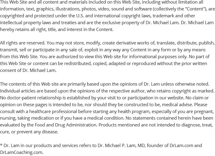 Disclaimer regarding Dr. Lam and the Adrenal Fatigue website