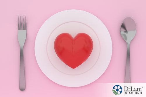 An image of a heart on an plate with cutlery around it
