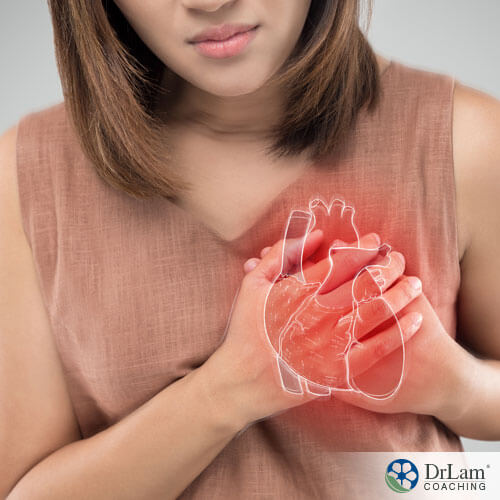 An image of a woman having heart problems