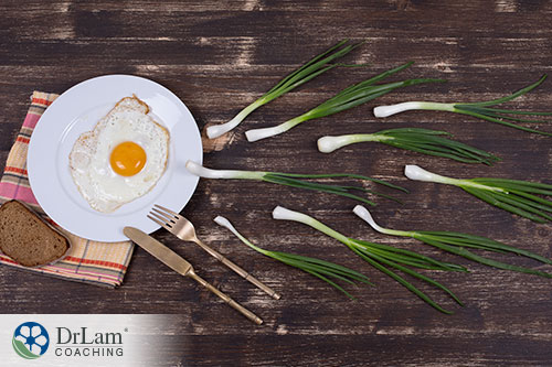 An image of a cooked egg on a plate with green onions swimming towards it