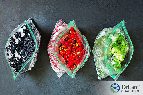 An image of three bags of frozen foods