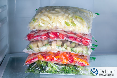 An image of stacked frozen foods in a freezer