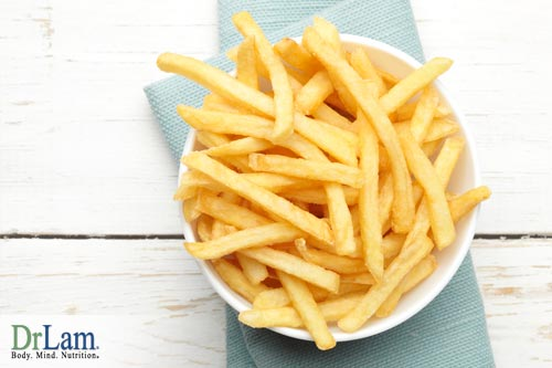 French fries and other high carb and high fat foods can raise cholesterol to unsafe levels, countering egg benefits since eggs have cholesterol
