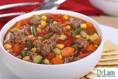 Soup with hamburger and vegetables, a surprising and tasty sweet potato recipe