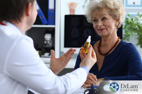 An image of an older woman talking to her health coach about hemp seed oil